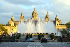 Magic Fountain and Palau Nacional in Barcelona, Spain