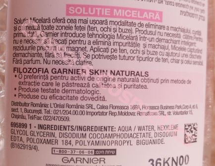 ingredient list garnier lotiune micelara